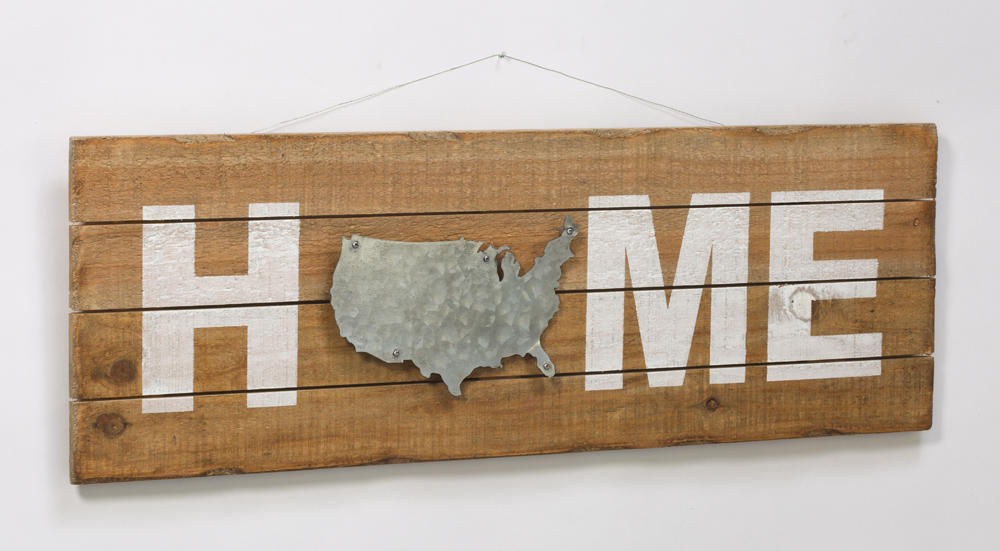 Wooden Home Sign w/ U.S. Outline  (Wall Decor)