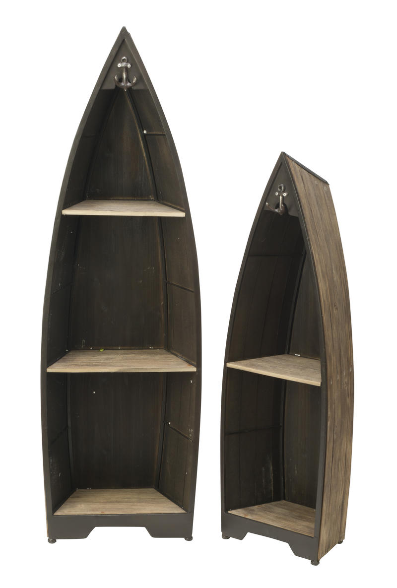 Decorative Brown Wooden Boat Shelves - Set of 2