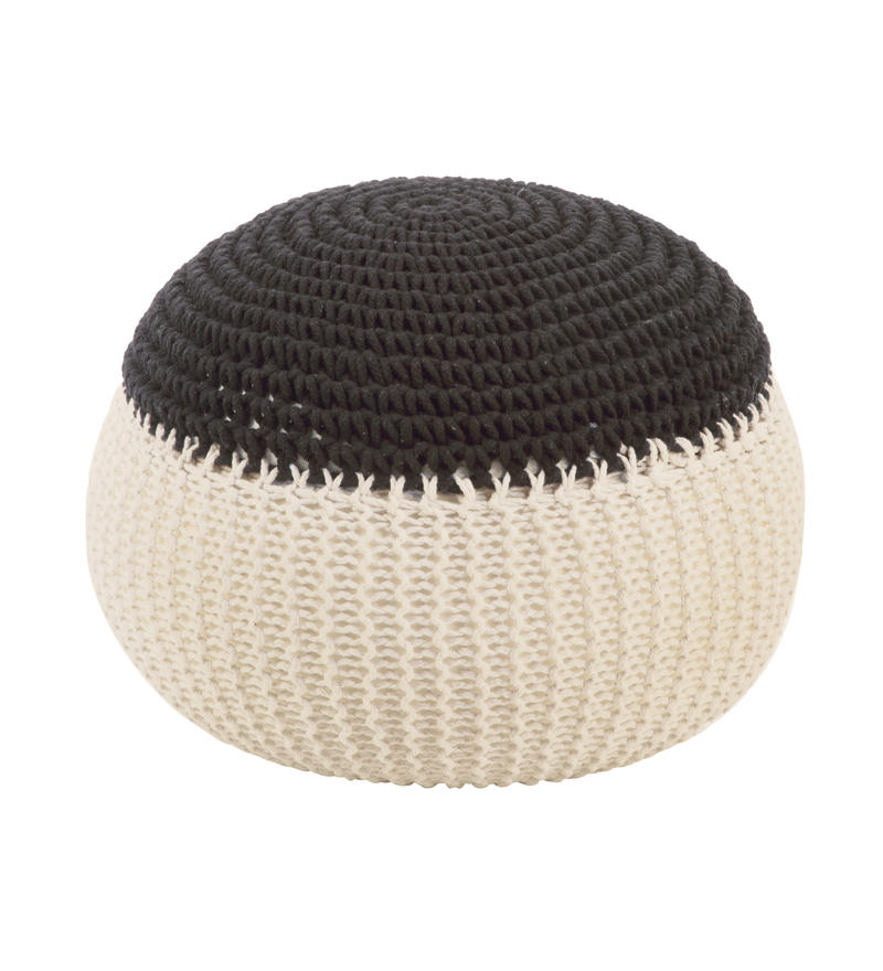 Knit Foot Stool - Cream/Grey
