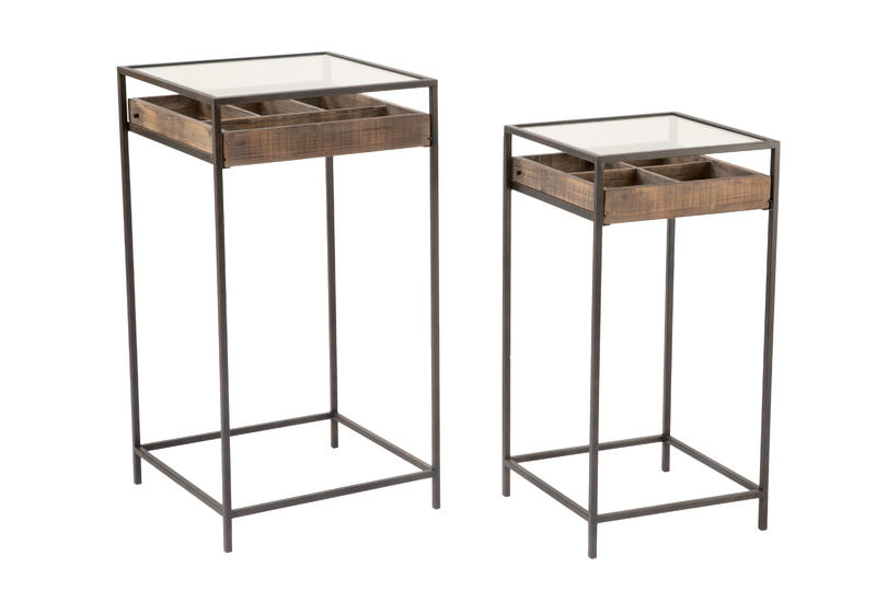 Set of 2 Side Tables with Glass Top Storage Drawer