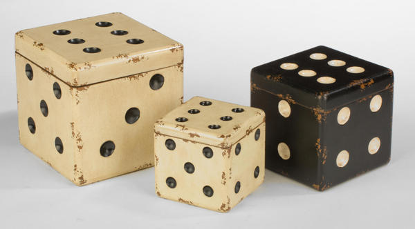 Cream & Black Wooden Dice Boxes - Set of 3