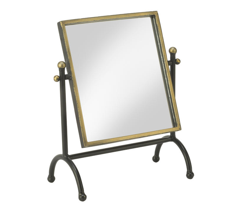 Square Mirror in Antique Brass Frame