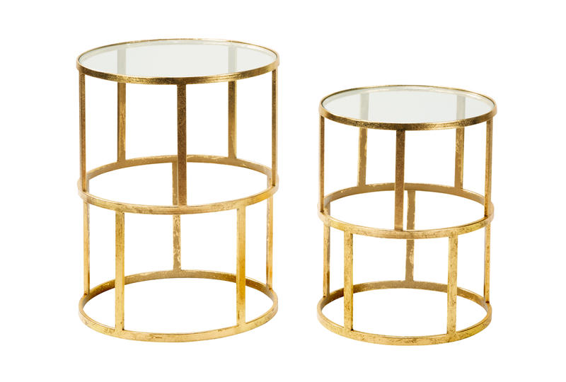 Set of 2 Round Gold Accent Tables