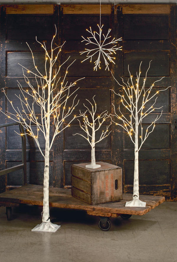 Birch LED Lighted Trees & Snowflake