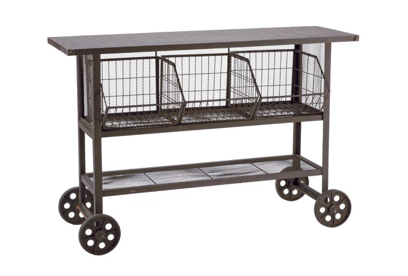 Industrial Brown Storage Console Table