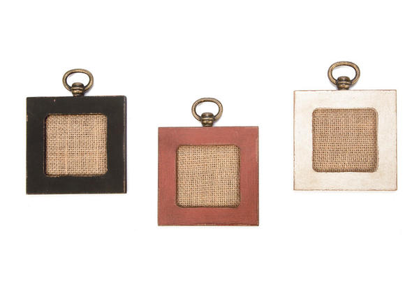 Black Wooden Frame with Jute Fabric - Set of 4