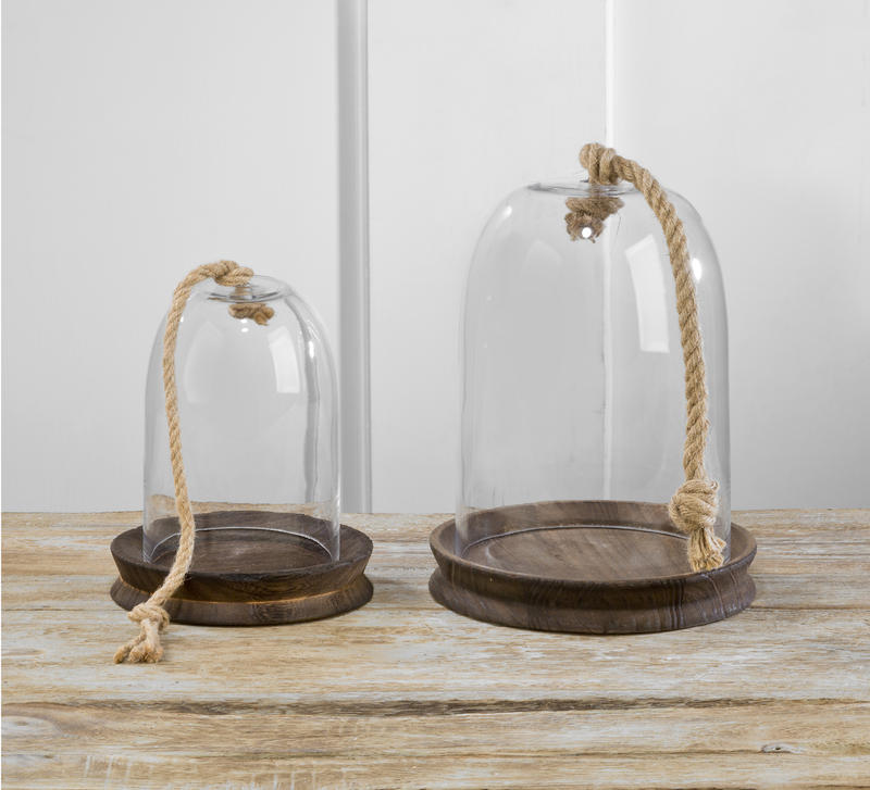 Glass Domes with Wood Base and Rope Handle