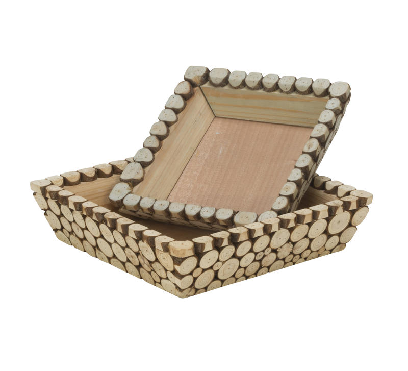 Wood Slice Square Trays, Set of 2