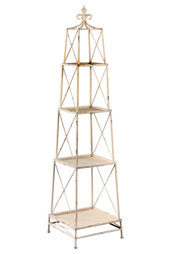 Distressed White Stackable 4 Tier Metal Obelisk