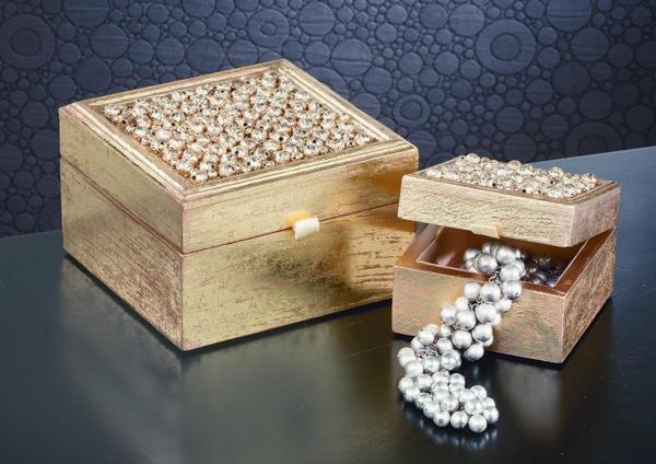Gold Beaded Wooden Jewelry Boxes - Set of 2