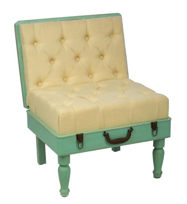 Mint & Cream Padded Suitcase Chair