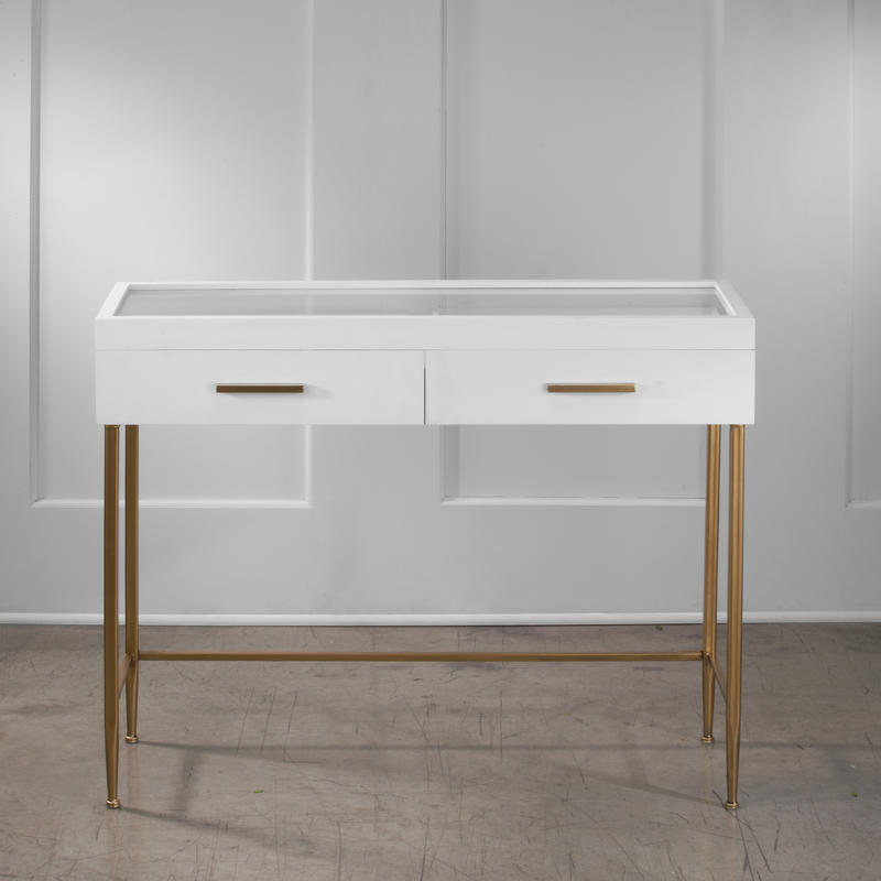Modern White Glass Top Table With 2 Drawers