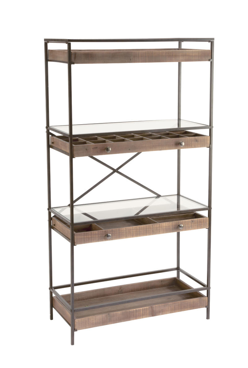 4-Tier Display with Glass Covered Storage Drawers