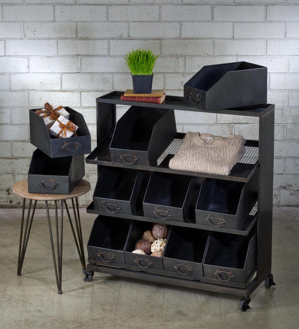 Industrial Black Iron 12-Bin Shelf