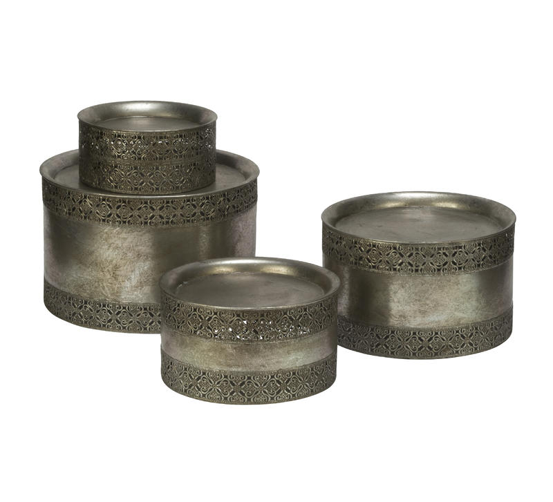 Elegant Burnished Silver Risers, Set of 4
