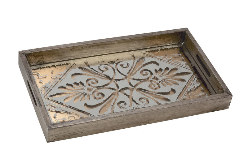 Wood & Stenciled Mirror Trays