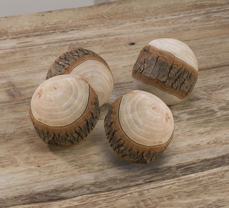 Decorative Wood Balls, Set of 4