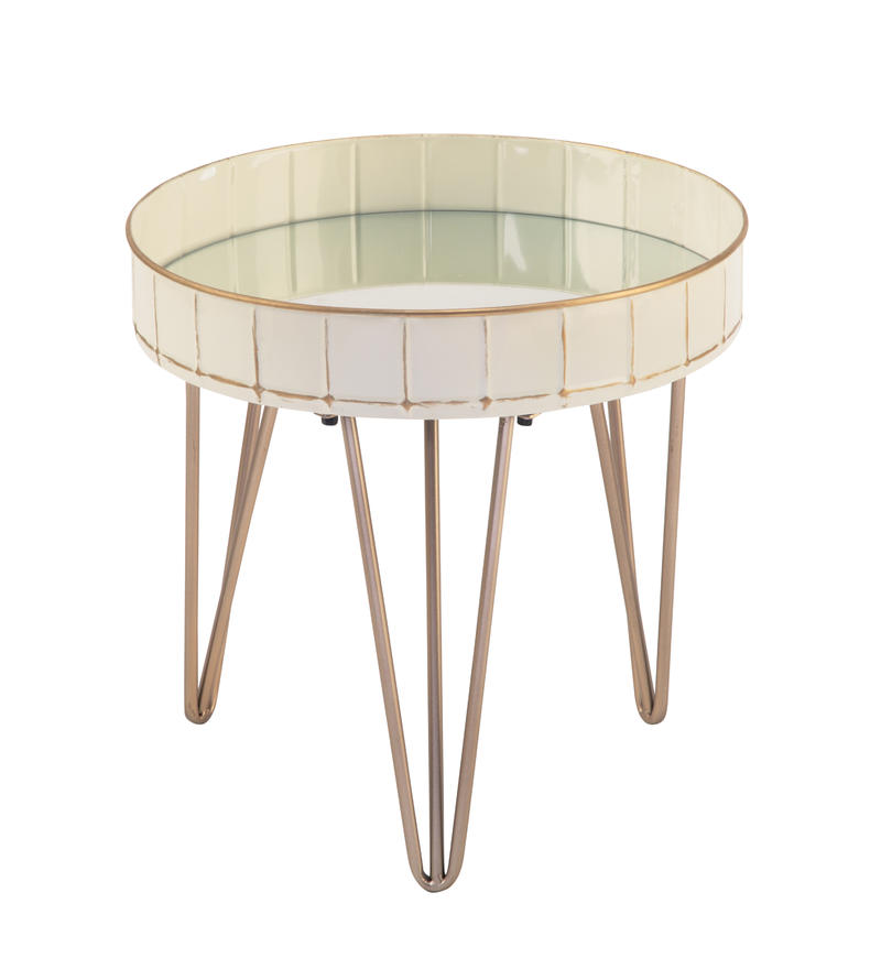 Cream Mirrored Side Table