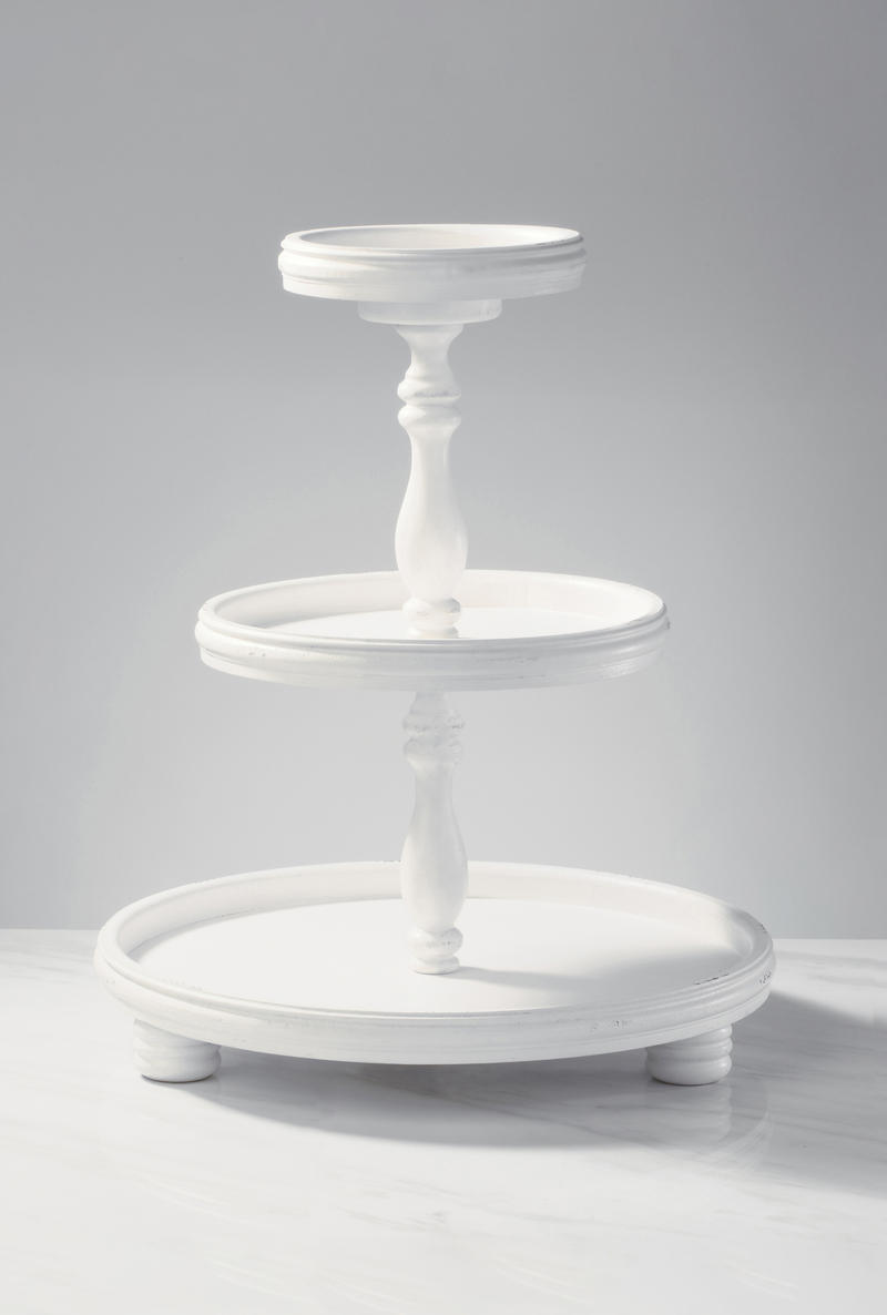 Cream Three Tier Wooden Display Stand