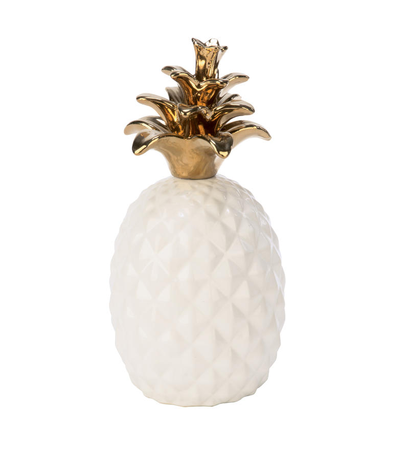 White Ceramic Pineapple with Gold Accents