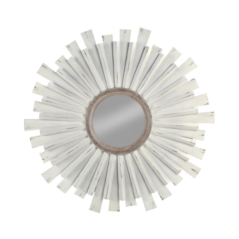 Wooden Starburst Wall Mirror