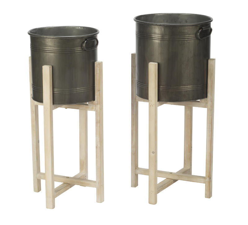 Round Tin Storage Buckets