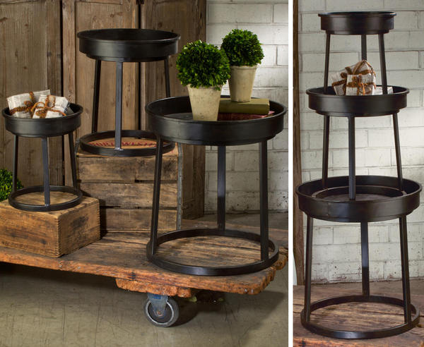 Dark Brown Industrial Stacking Tables - Set of 3