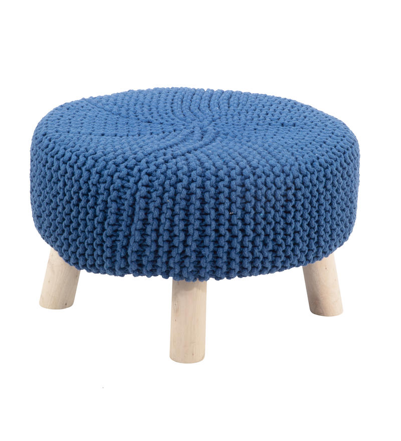 Small Blue knit Footstool