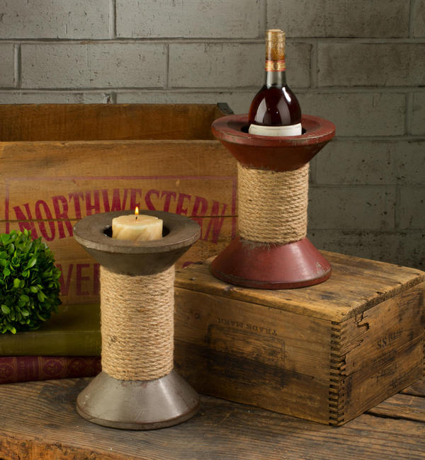 Spool Wine & Candle Holder