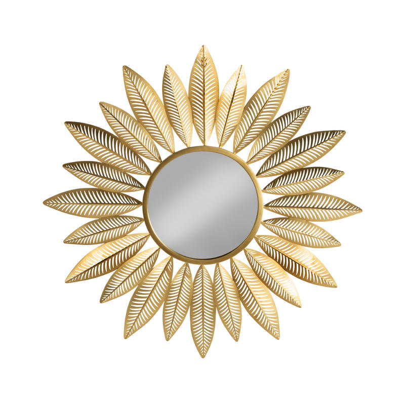 Starburst Gold Wall Mirror - Feather Design