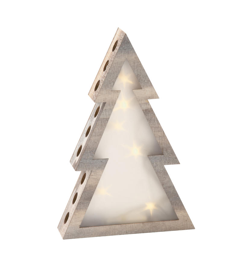 Small Wood Lighted Tree