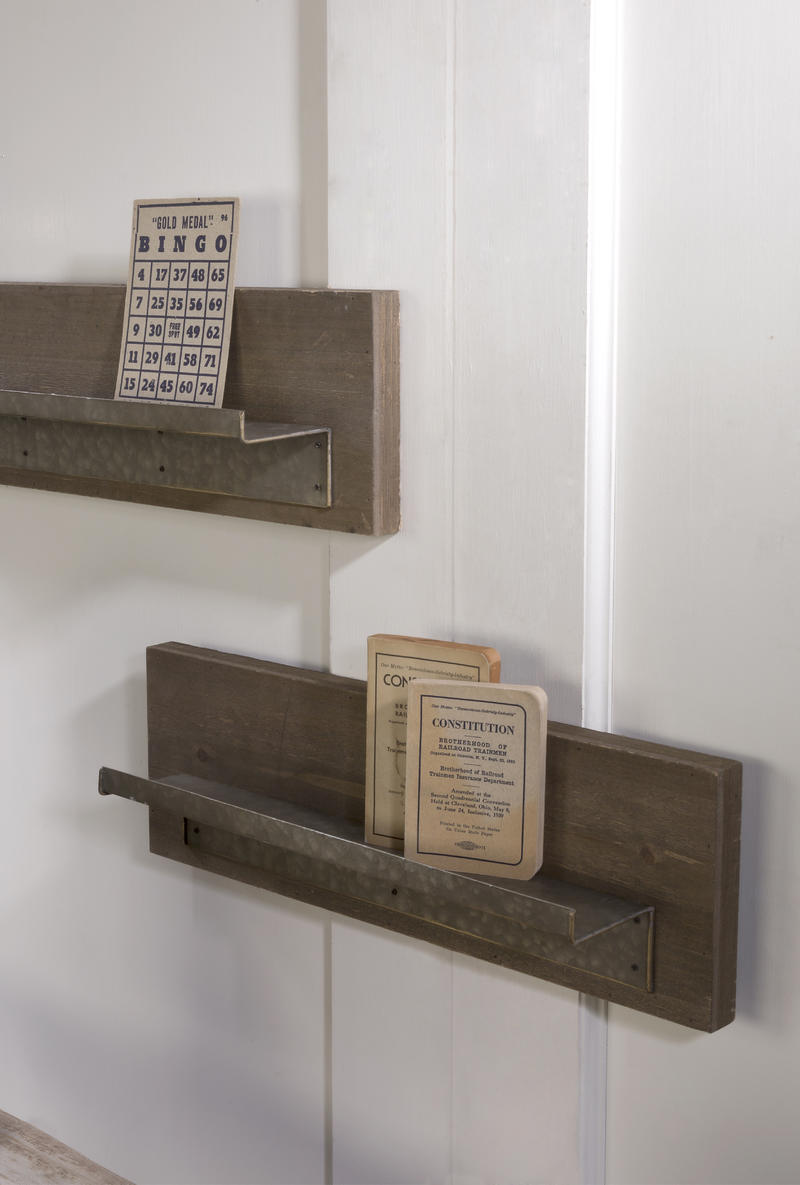 Wood Shelf with Metal Ledge - Set of 2