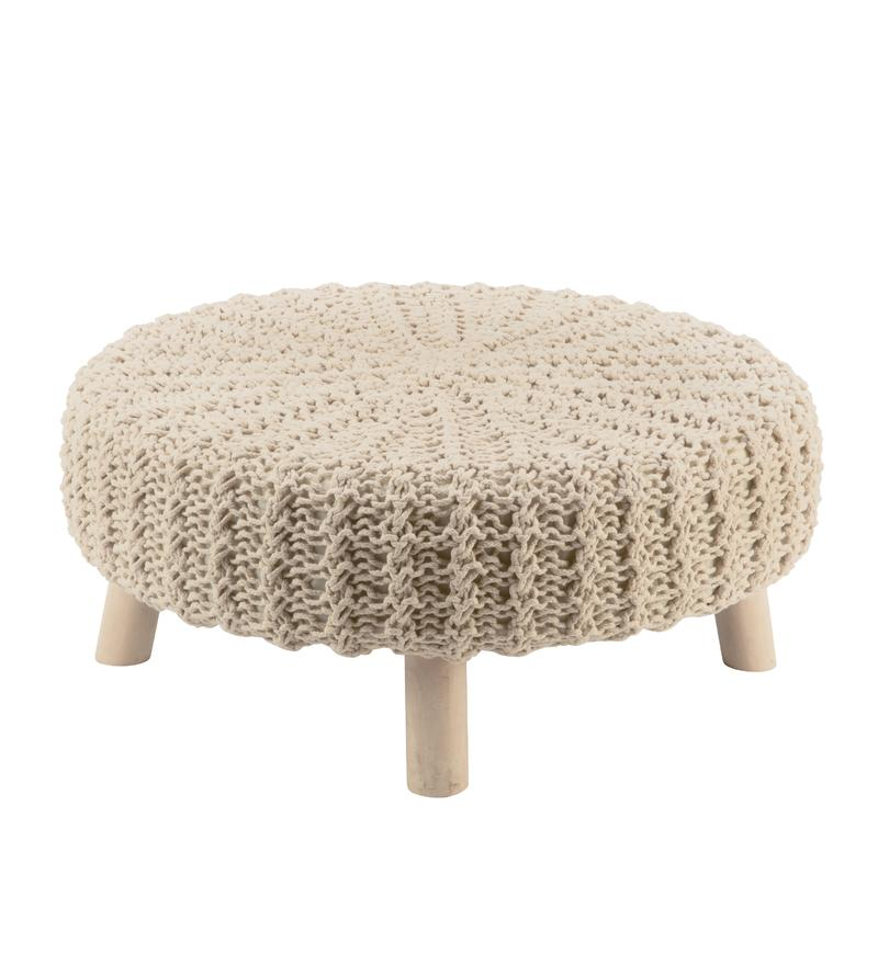 Knit Foot Stool - Cream