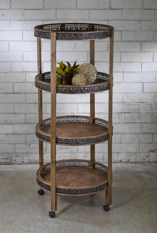 4-Tier Round Wood Display Cart