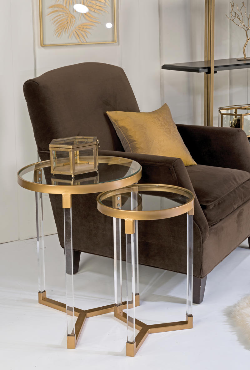 Acrylic Side Tables with Gold Accents - Set/2