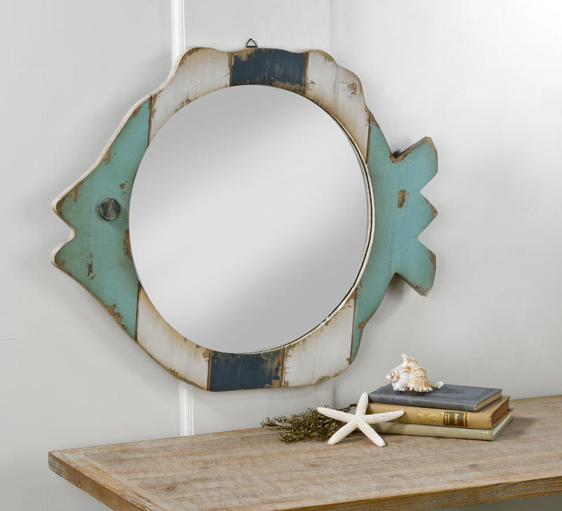 Wood Fish Frame Mirror