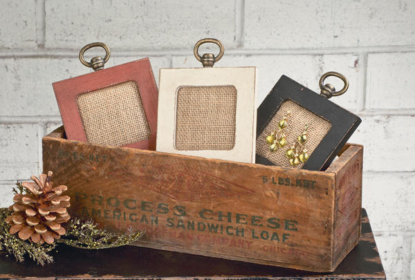 Small Wooden Frames with Jute Fabric