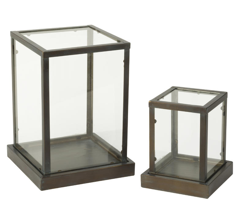 Glass Display Cases with Metal Frame -2 piece set