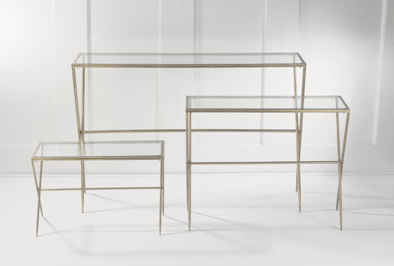 Gold Metal and Glass Slim Table