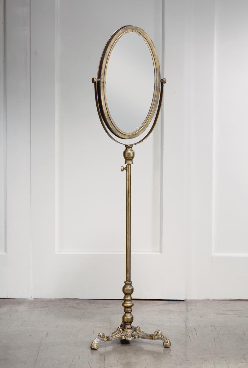 Oval Antiqued Floor Mirror