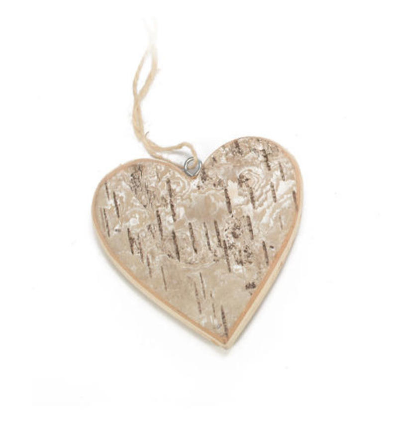 Birch Heart Ornament - Set of 6