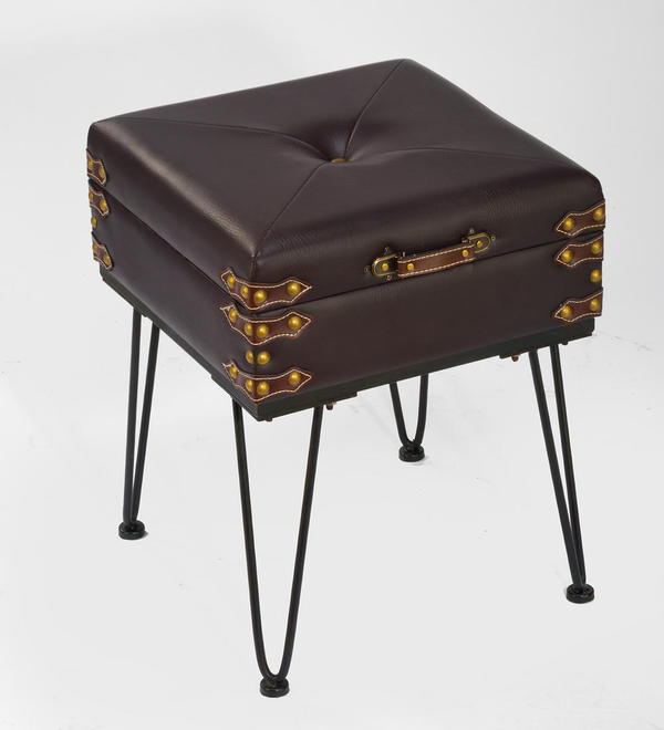 Small Padded Suitcase Bench/End Table