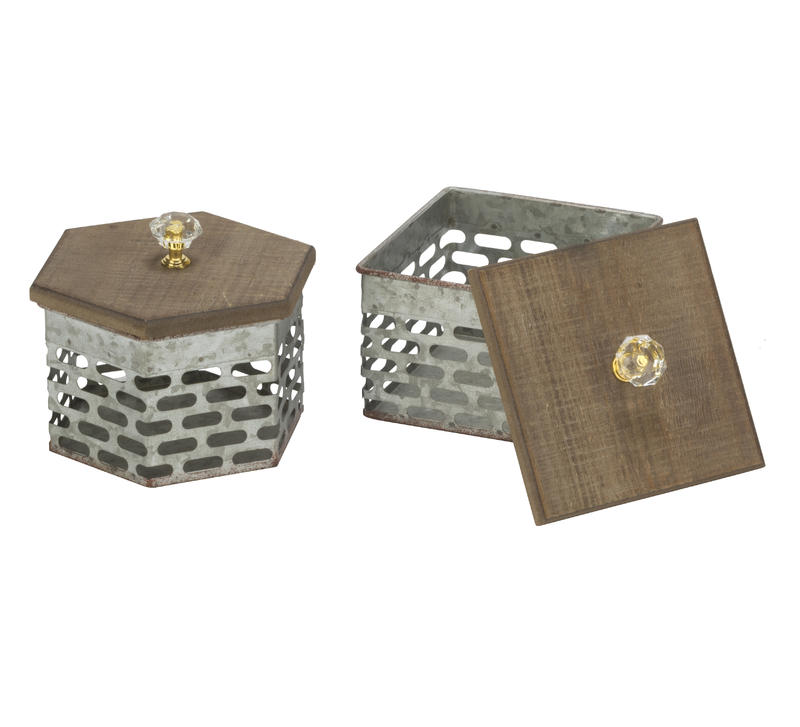 Decorative Metal Storage Boxes with Acrylic Knobs
