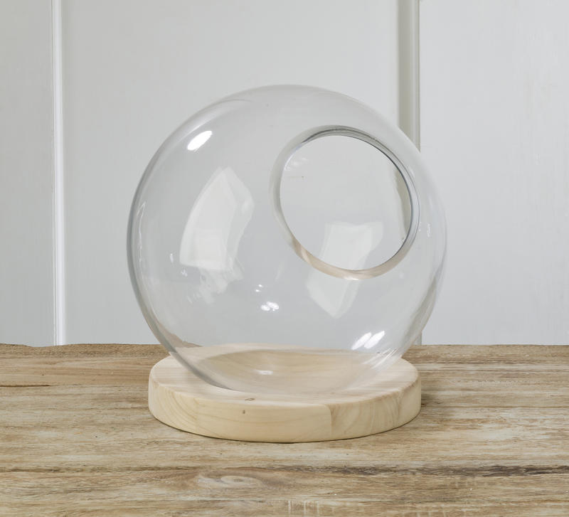 Large Glass Globe with Natural Wood Base