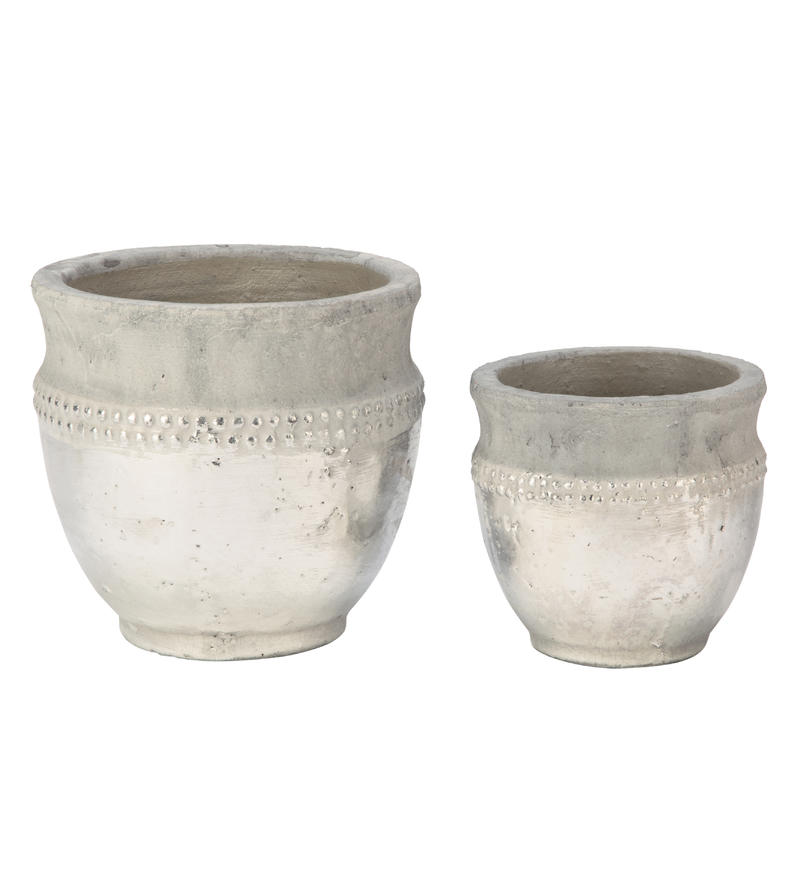 Ceramic Vase with Silver Accent - Set/2