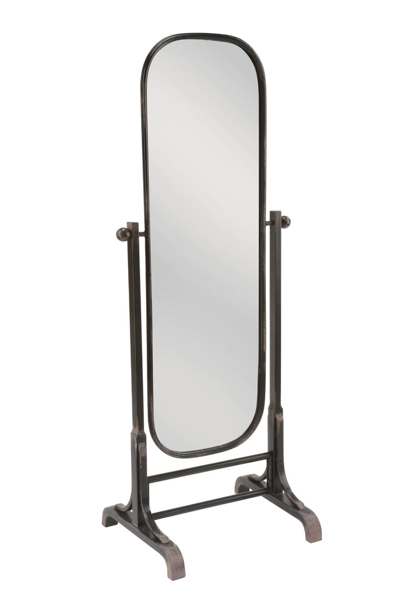 Oval Floor Mirror - Antiqued Black Finish