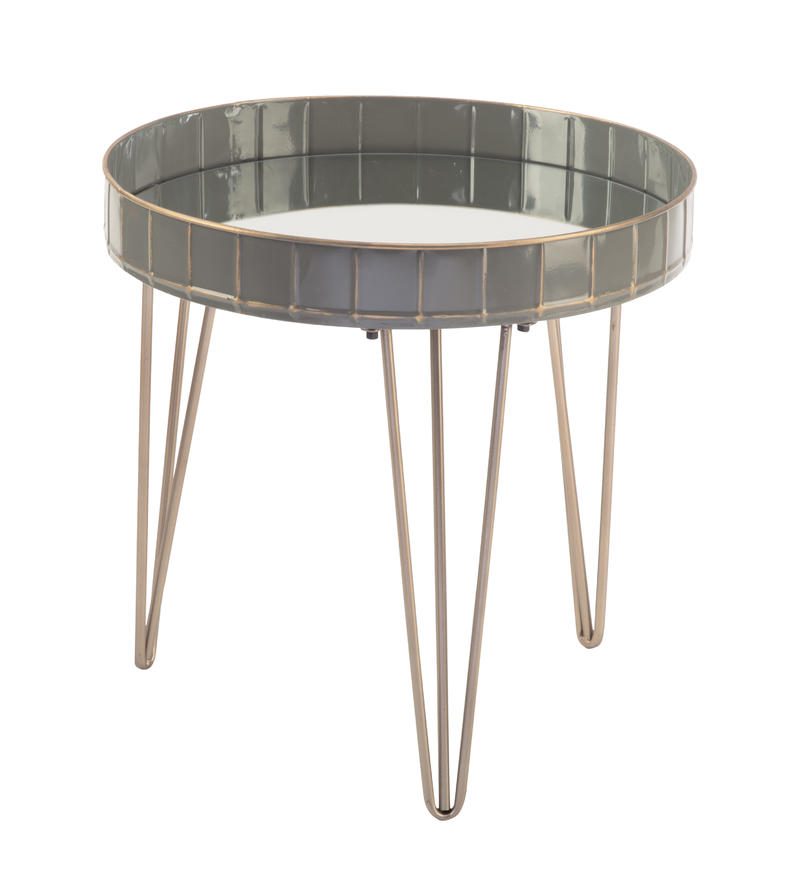 Grey Mirrored Side Table