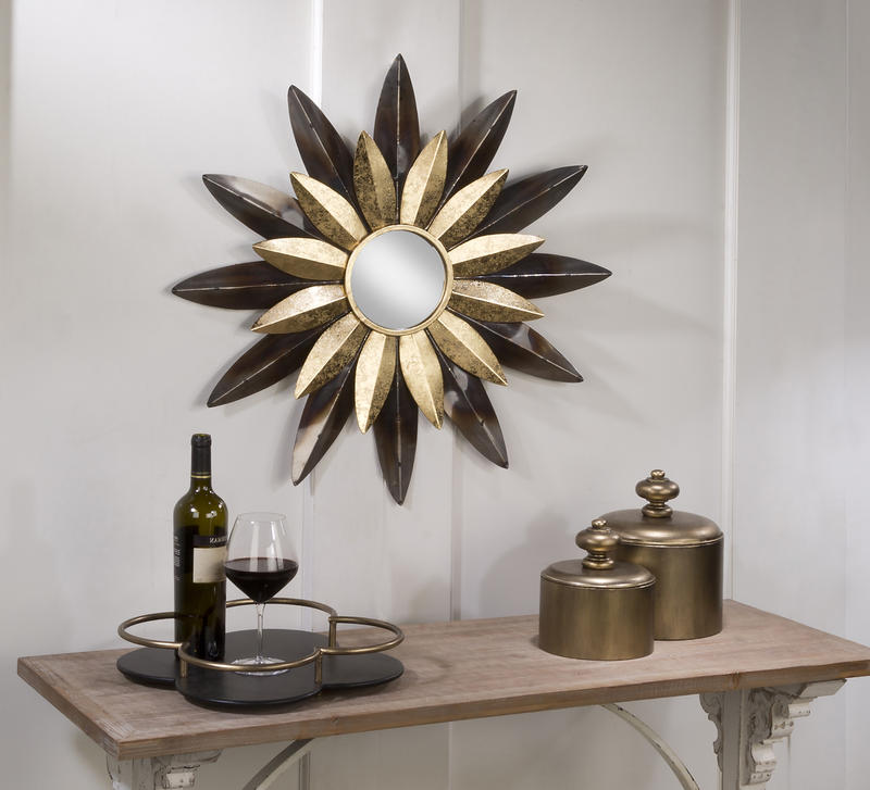 Wall Mirror With Two Tone Sunflower Metal Petals