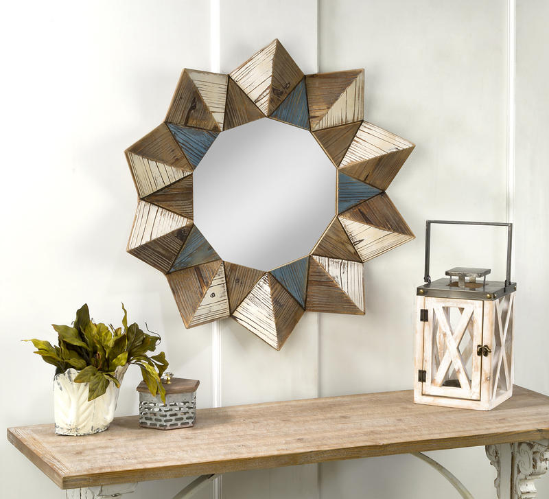 Round Geometric Wall Mirror