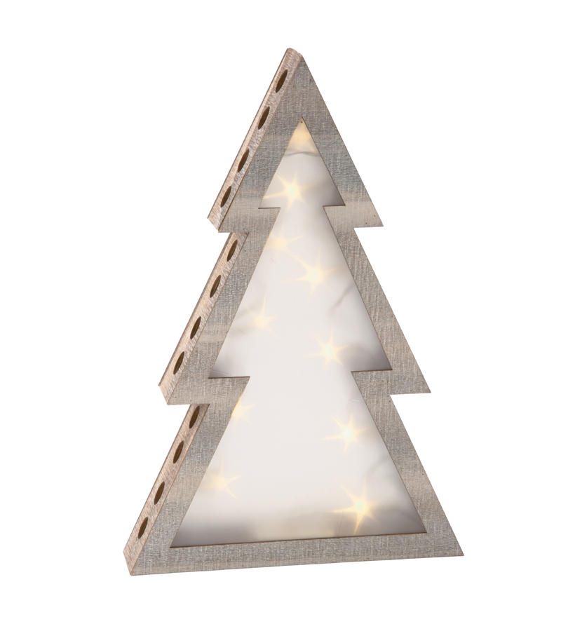 Large Wood Lighted Tree